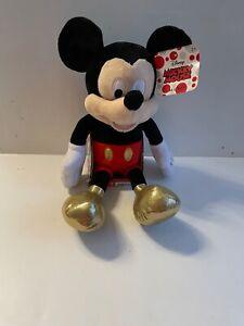 Mickey Mouse Plush Stuffed Toy Animal Disney Just Play 2018 Gold Feet Macy's NEW