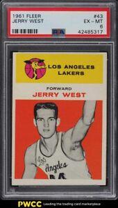 1961 Fleer Basketball Jerry West ROOKIE RC #43 PSA 6 EXMT