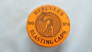 Yellow Hercules Powder Co 100 No. 6 Strength Blasting Cap Tin-Underground Mining