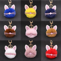 Cute Cat Keychain Soft Fluffy Cat Fur Bag Pendant Charm Pom-Pom Key Ring Gifts
