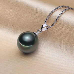 """Tahitian Black SHELL Pearl 12mm pendant 925 Silver 18"""" Necklace gift Box PE33"""