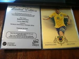 2016 Futera Unique soccer Roberto Firmino 1 of 1 printing plate set 1/1