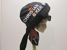 Christian Biker Cross Flames Skull Cap Do Rag w/Sweatband  Made in USA!