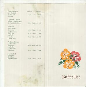 Air New Zealand Buffet Price List circa 1970's?