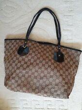 Authentic vintage large Gucci Sukey tote Beige GG logo purse shoulder work bag