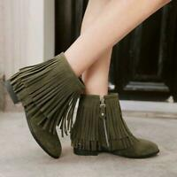 New Womens Faux Suede Fringe Block Low Heels Side Zipper Ankle Boots Plus Size