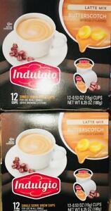 24ct Indulgio Single Serve Brew K-Cups Butterscotch Latte ~ FAST FREE SHIPPING !