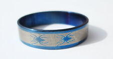 Blue Spider Stainless Steel Ring - Size 11  (20.6mm)