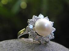 9-10mm White Pearl Solitaire (Size 8 1/4, Q), CZ's & 925 SOLID Silver