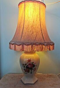 Vintage Neat Size Shabby Chic Floral Porcelain  Base Lamp Dresser Bedside Light