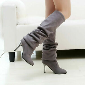 Womens Suede Stiletto Heels Pleated Over The Knee Thigh High Boots Party Shoes