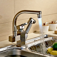 New Brushed Nickel LED Swivel Spout Kitchen Sink Faucet Pull Out Spray Mixer Tap