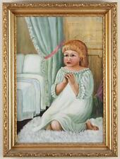 Fine Antique Folk Art Oil Painting on Canvas Girl Praying Bedside