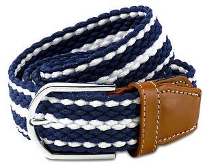 Braided Stretch Cord Dress Belt - Blue and White Stretch Belt