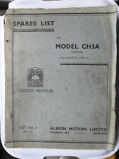 ALBION CHIEFTAIN CH3A SPARE PARTS LIST WORKSHOP SERVICE MANUAL CH 3A MAY 1960