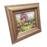 Framed oil painting of cottage garden landscape with a gold wood frame 14x16