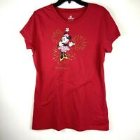 Disney Parks Womens XL Red Short Sleeve Crew Neck Firework Minnie Mouse T Shirt