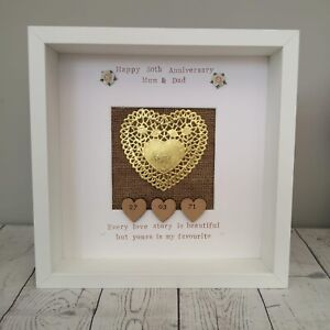 Fiftieth 50th Golden Wedding Anniversary Personalised Gift Frame Paper Heart