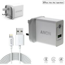 Mains Wall Plug Charger MFI Lightning USB Cable 2M 6ft Long For iPhone iPad iPod