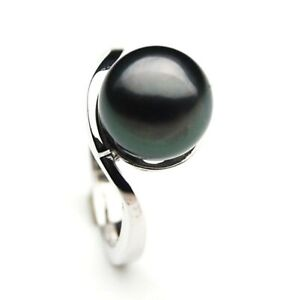 Pacific Pearls® 10mm Black Tahitian White Gold Pearl Rings Gifts for Best Friend