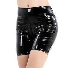 Women Patent Leather Leg Tights Pants Boxer Shorts with Crotch Zipper Costume