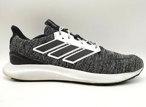 Adidas Cloud Foam Black Gray Knit Lace Up Athletic Running Shoes Men's 14