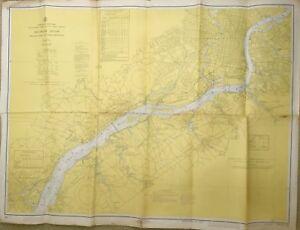 VINTAGE NAUTICAL CHART MAP DE PA NJ DELAWARE RIVER Wilmington to Philadelphia