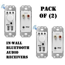 Pack of (2) Pyle PWPBT67 In-Wall Bluetooth Audio Receiver, Dual USB Charger, AUX