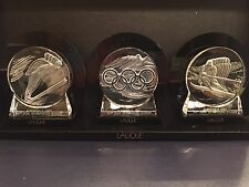 LALIQUE 1992 Albertville Olympics Medallion Paperweights Set of 3 w/ Stands NIB