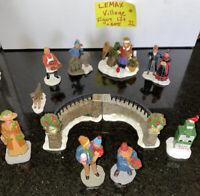 Lemax  🎄CHRISTMAS VILLAGE Lot #11 Figures & Stone Gate / Men Women Bridge Dog