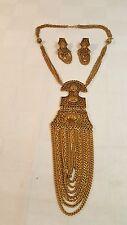 Miriam Haskell 1960s Goldtone neclace & earrings