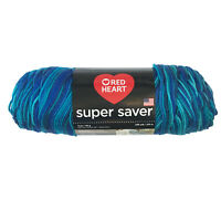 Red Heart Super Saver Acrylic Yarn - Macaw - 5 oz 236 yds Multi-color Blue Green