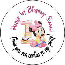 24 stickers 1.67 Inch Personalized round birthday party minnie mouse 1st baby
