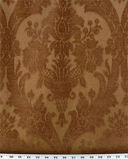 Drapery Upholstery Fabric Chenille Jacquard Damask Floral Design - Copper