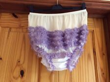 Sexy white with lavender lace Adult  RUMBA, SISSY, SQUARE DANCE, AB PANTIES xl
