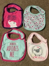 Lot of 4 Baby Girl Child of Mine Bibs - Elephant, Floral, Auntie, Sheep