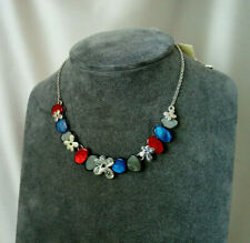 "BNWT ""Soul"" Necklace Silver Flowers Red Blue stone Chain Carraig Donn"