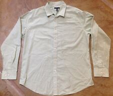 Van Heusen Means Large Dress Shirt Long Sleeve Mitered Green Gingham 16-16.5