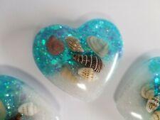 3 pc set, Heart shaped refrigerator Magnets, resin, ocean theme, light blue