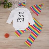 4pcs/Set Autumn Rainbow Stripe Infants Clothes Romper Pants Hat Headband Outfits