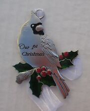 bbd Our 1st first CHRISTMAS CARDINAL ORNAMENT newlywed ganz holly berry