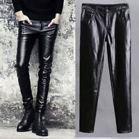 Men's Punk Faux Leather Black Pants Skinny Motorcycle Trousers New Fashion Size