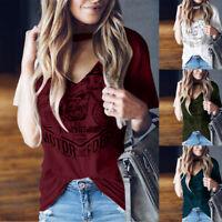 Fashion Womens Short Sleeve Choker V Neck Blouse Stylish Print Tops T-shirts