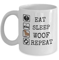 Pets Animals coffee mug - Eat sleep woof repeat - Dog mom dad funny puppies gift