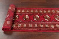 Geometric Bokhara 6 ft Runner Rug Oriental Red Wool Hand-Knotted 2'x6' Carpet