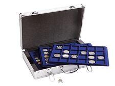 Aluminium Coin Case & Collectable Coin Box Case 5 Tray Store 205 Coins Lockable