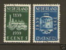 Nederland Netherlands 325-326 100jr spoorwegen  railways 1939 gestempeld-used