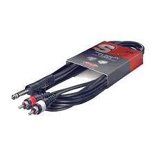 1 Câble 1 Jack 6,35 Mâle MONO vers 2 RCA Mâle Fiches Surmoulées Longueur  3 M102