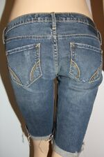 HOLLISTER JEANS Womens Cuffed Cut Off Navy Destroyed Distressed Shorts Stretch 1