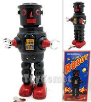 MS640 Black Mechanical Walking Roby Robot Retro Clockwork Wind Up Tin Toy w/Box